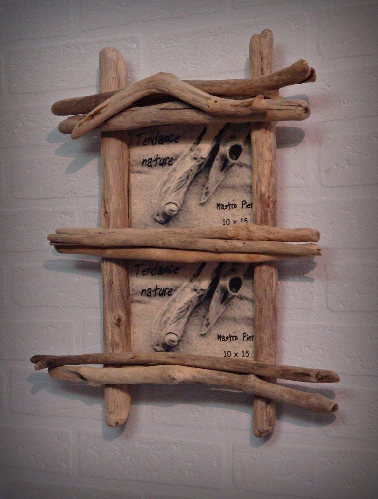 Portafoto doppio con legni di mare