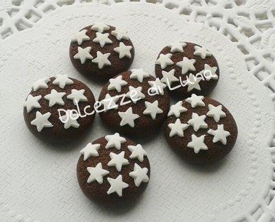 lotto da 5 pz biscotto pan di stelle 2 cm in fimo fatti a mano per orecchini, bracciali