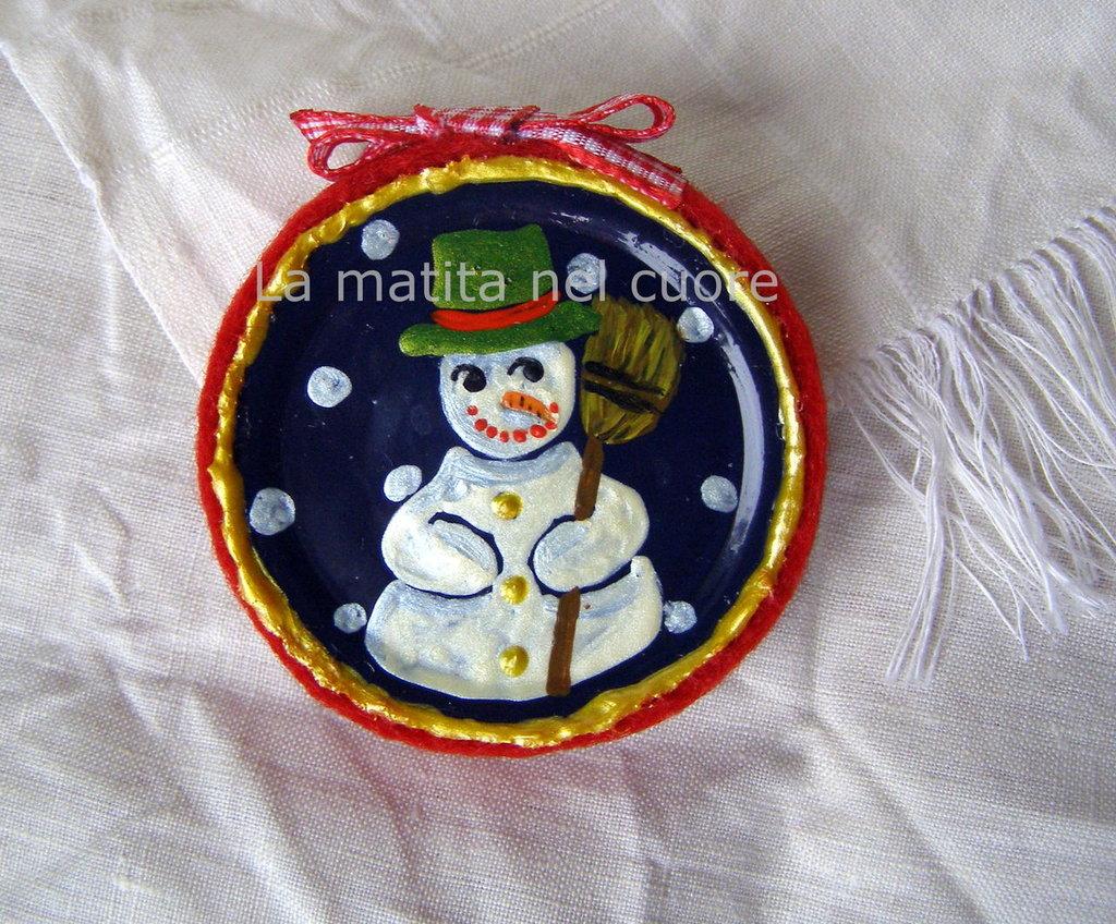 Calamita pupazzo di neve coperchio dipinto a mano