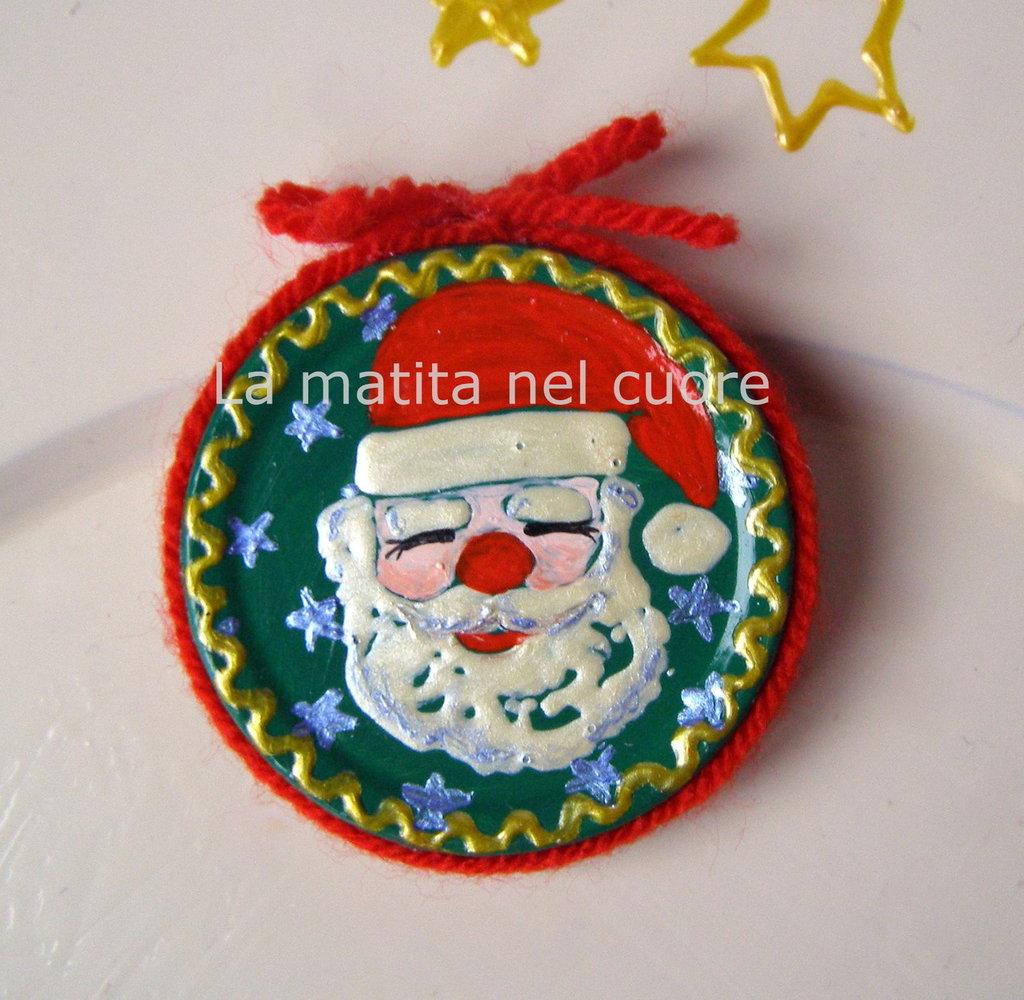 Calamita Babbo Natale coperchio dipinto a mano