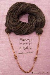 Sciarpa - scaldacollo - collana di lana marrone