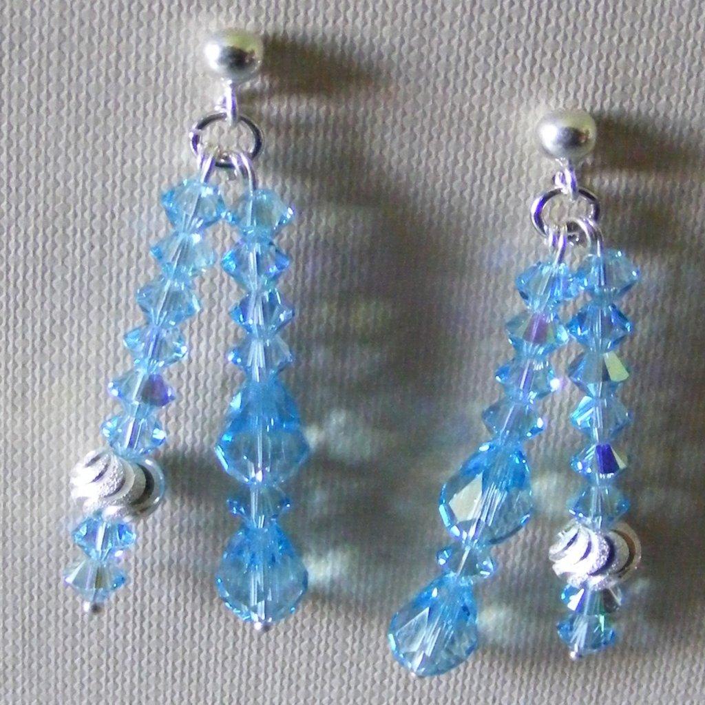 Orecchini Aquamarine Argento 925 & Swarovski