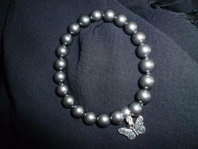 Bracciale perle swarovski dark gray