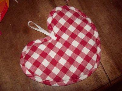 presina cuore grande cotone quadretti rossi