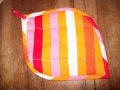 presina manopola foglia righe colorate cotone imbottita handmade