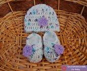 Cappellino + scarpette 0-3 mesi ad uncinetto in lana baby