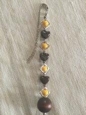 Segnalibro Handmade con perla in legno marrone scuro