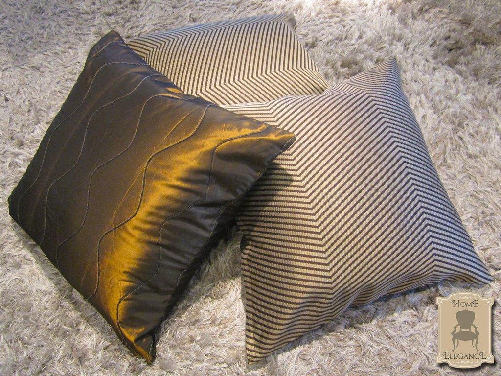 Optical Bronze_set 3 cuscini artigianali