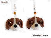 Orecchini cane beagle creati a mano in fimo