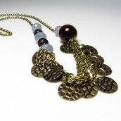 Collana in ottone, collana quarzo azzurro, collana azzurra - 0338