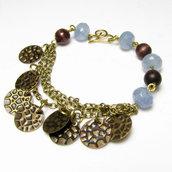 Bracciale in ottone, bracciale quarzo azzurro, bracciale azzurro - 0339