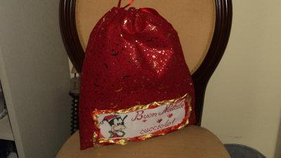 sacca portapigiama/portacambio idea regalo Natale artigianale ricamo punto croce personalizzabile
