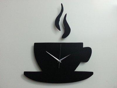 OROLOGIO DA PARETE TAZZA CAFFE' IN LEGNO FATTO A MANO MODERNO UNICO IDEA REGALO