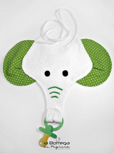 Bavaglino Elefante con portaciuccio - Verde