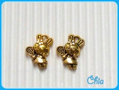 8 charms coniglietta tennista in metallo dorato