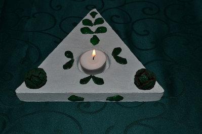 Centro tavola triangolare in gesso per Natale