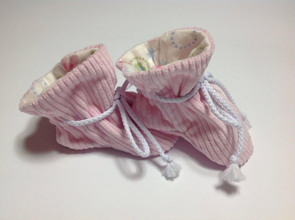 Babbucce in velluto rosa - Bambina 0-6 mesi