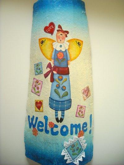 Regalo di Natale: Tegola con angelo azzurro!!! Welcome...
