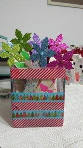 SPEDIZIONE GRATUITA! Segnalibro natalizio in legno, decorato con washi tape