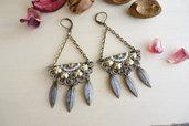 """orecchini in bronzo anticato con pendenti Art Dèco """"vintage stile"""""""