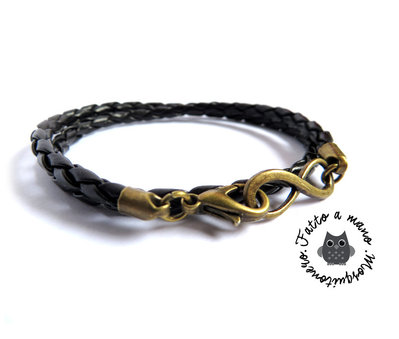 Bracciale uomo infinito Infinity otto bronzo pelle doppio giro braccialetto