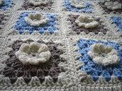 Coperta per Neonato / Accessori Lettino bambini / Neonati / Photo prop / Crochet / Fatto a mano / Azzurro / Hippy chic