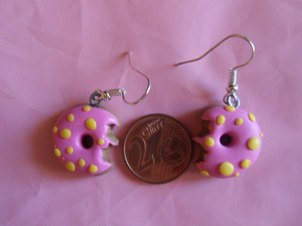 orecchini donut in fimo