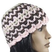Berretto lana cappello donna mod ZIG ZAG tre colori marrone rosa beige realizzato a mano a uncinetto