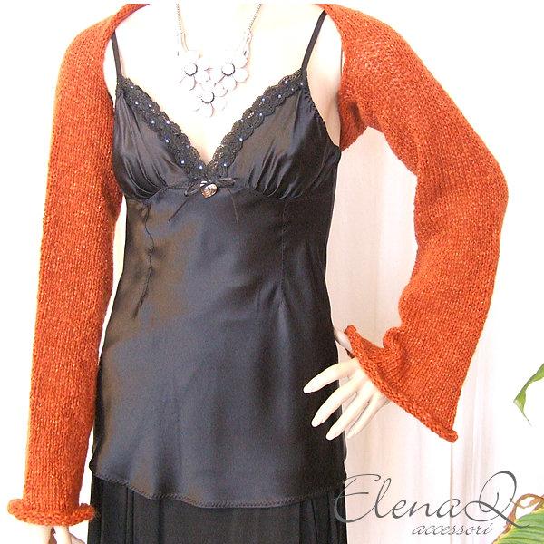 coprispalle lana donna misto mohair e lurex color ruggine realizzato a mano a maglia