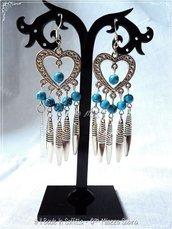 Orecchini Pendenti con perle azzurre Stile Etnico