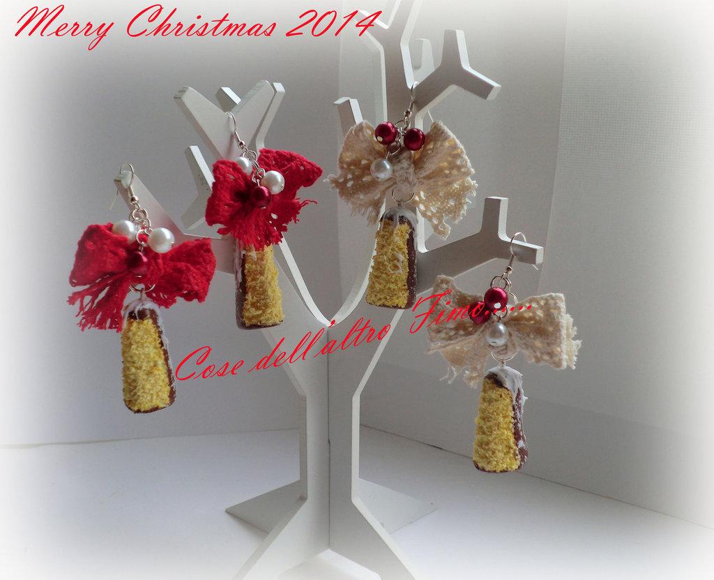 Orecchini Pandoro a Fette Cioccolatoso di Natale