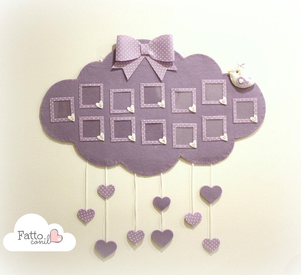 quadro nuvola con cuori pendenti  dei 12 mesi fatto a mano per il tuo bebè personalizzabile