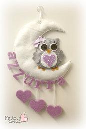 fiocco nascita luna con gufetto  e cuori pendenti personalizzabile
