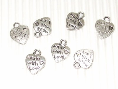 "OFFERTA 15 charms cuoricini ""made with love"""