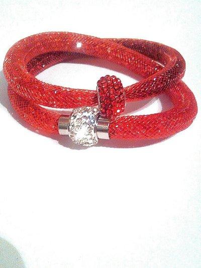 bracciale in rete tubolare e cristalli rossi fatto a mano stile swarovski stardust
