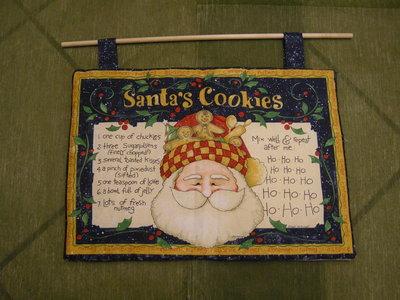 pannello natalizio realizzato a mano in stoffa americana con ricetta di biscotti di babbo natale