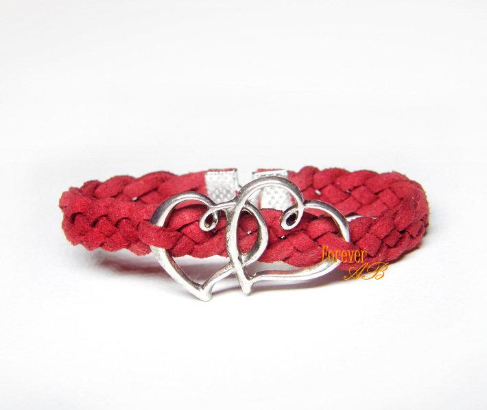 Bracciale intrecciato pelle alcantara rosso cuore doppio donna regalo San Valentino amore