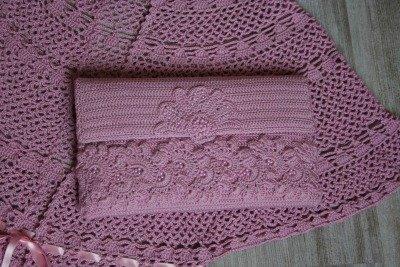Coordinato Mantella E Pochette Colore Rosa Fatto Al Uncinetto Filat