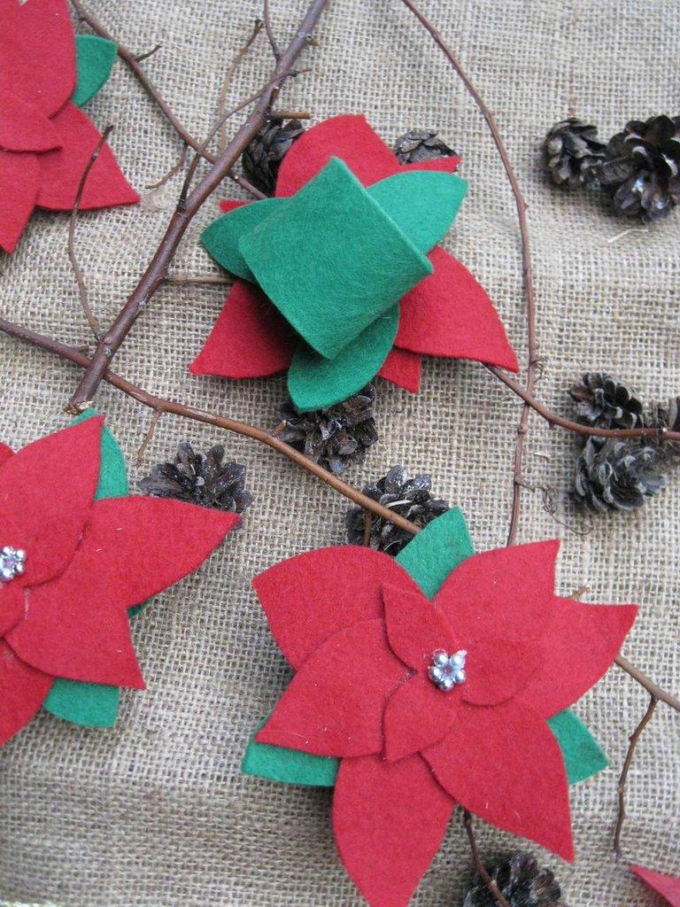 Set di 6 portatovaglioli in feltro con Stella di Natale