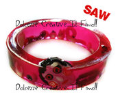 Bracciale Bangle Saw l'enigmista horror extreme cuore anatomico, cervello, sangue splatter, goth, emo ,dark