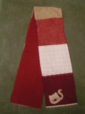 morbida sciarpa patchwork stoffa americana con gatto applique