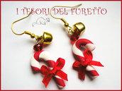 """Orecchini Natale """"Bastoncini di zucchero con campanellino dorato""""  fimo cernit idea regalo natale bambina per lei"""