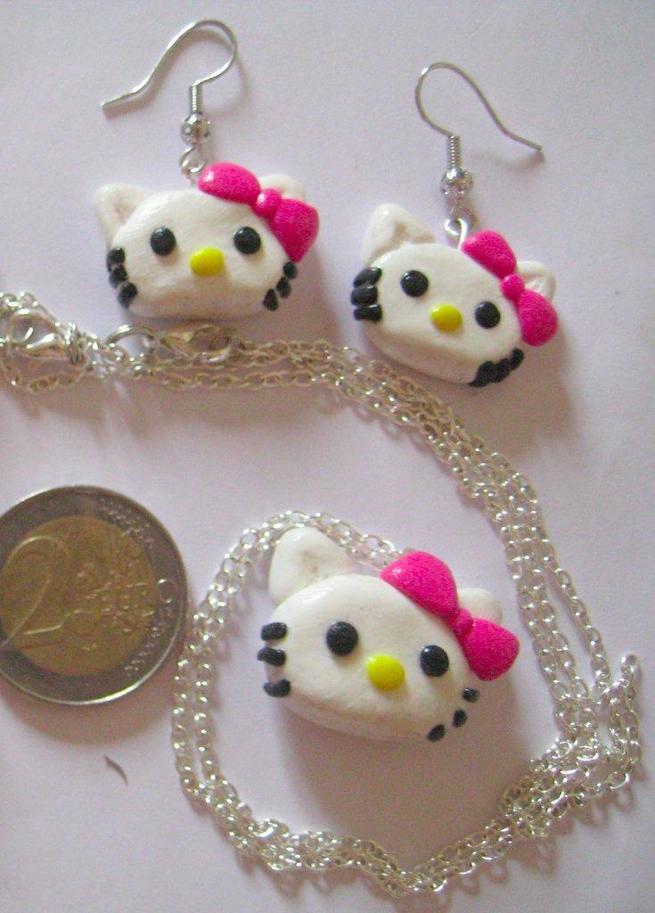 FIMO - Parure Hello Kitty Collana + Orecchini