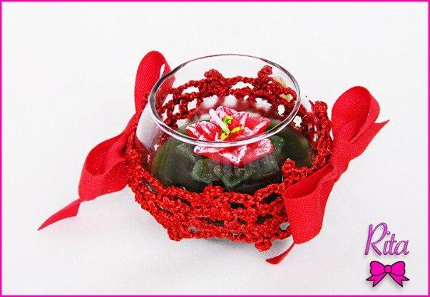 Candela natalizia centro tavola segnaposto rossa stella - Centro tavola di natale ...