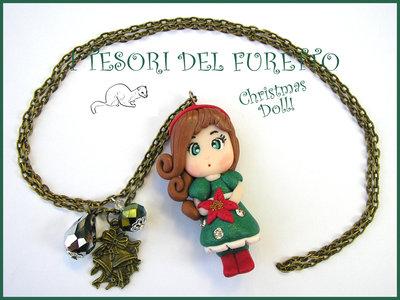 """Collana Natale 2014 Bambolina """"Christmas Doll Natale Mod. Veronica Verde stella natale"""" fimo cernit bijoux natalizi idea regalo bambina"""