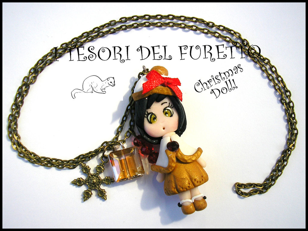 "Collana ""Christmas Doll Natale Mod. Goldie con mantellina oro bianco"" fimo cernit kawaii idea regalo Bambina"