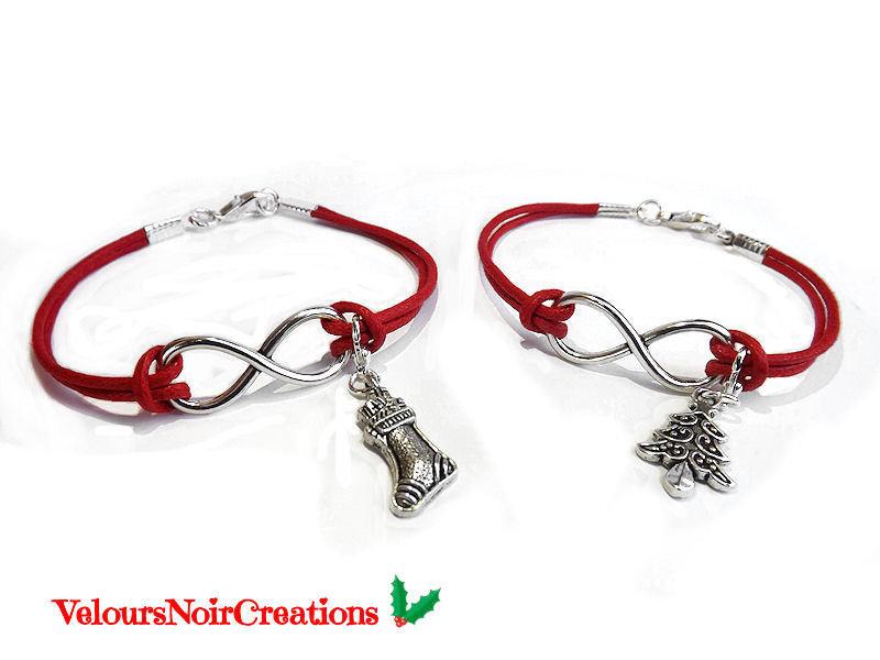 Coppia bracciali infinito calza e albero di natale cordino rosso