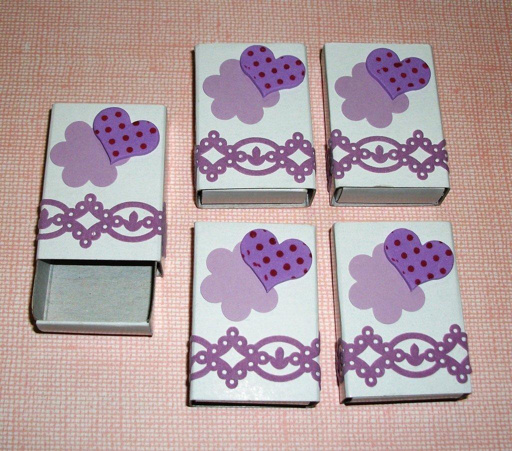 Scatoline decorate per regali - Packaging in Lilla - Lotto (5pz)