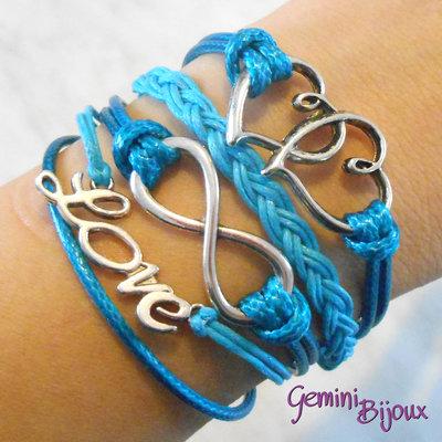 Bracciale multifile azzurro in corda con cuori, love, infinito e treccia