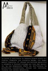 SACCA BIANCO-BEIGE CON FOULARD MARRONE-GIALLONE